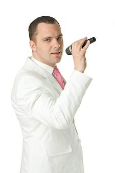 Retro styled fashion portrait - mann sänger mit mikrofon
