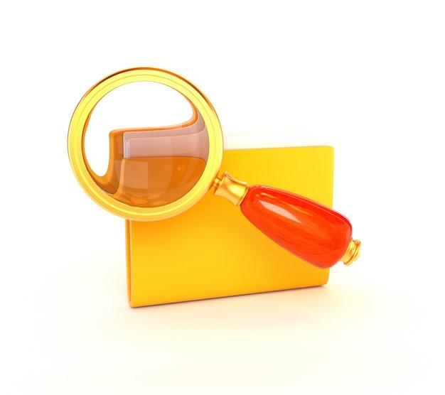 Retro vergrößerungsglasikone und ein goldener gelber ordner lokalisiert auf einem weißen hintergrund. seomarketing. 3d darstellung.
