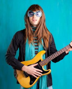 Retro vintage-hüfte des humors schwere siebziger-gitarre playe