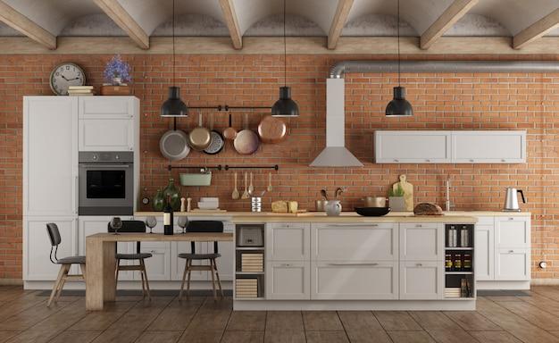 Retro weiße küche in einem alten innenraum mit backsteinmauer