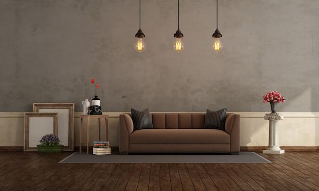Retro wohnzimmer mit braunem sofa