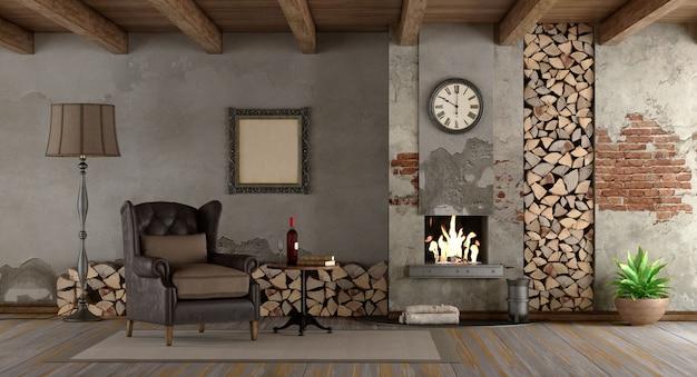 Retro wohnzimmer mit kamin