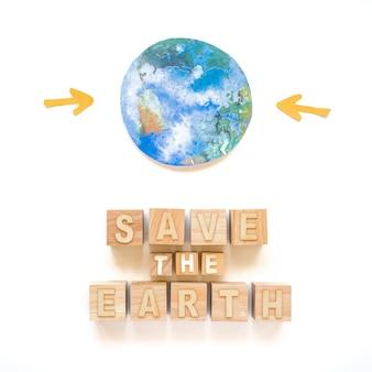 Rette die erdinschrift und den planeten auf papier