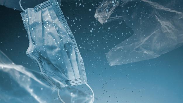 Rette die gesichtsmaske der ozeankampagne, die in den ozean-remix-medien versinkt
