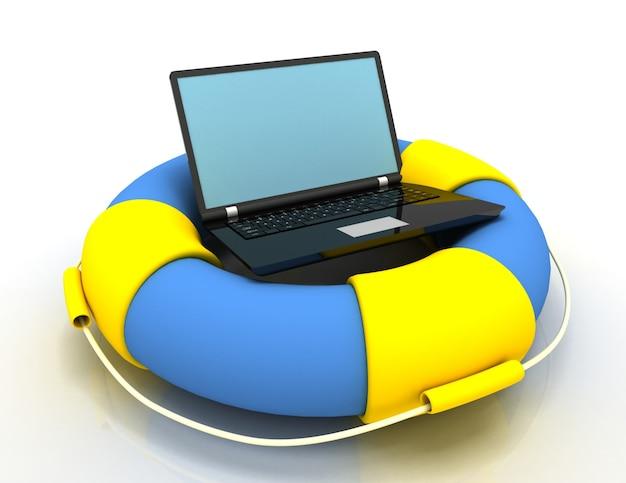 Rettungsring mit laptop. internet und support-konzept. gerenderte illustration