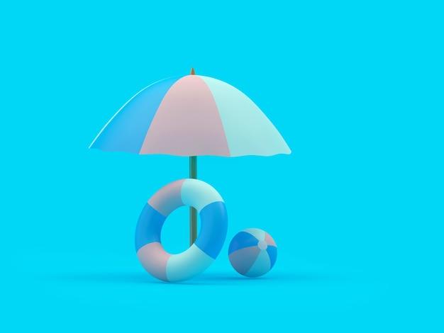 Rettungsring und ball unter einem sonnenschirm