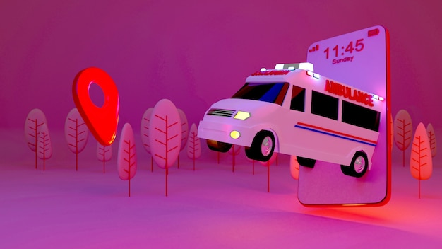 Rettungswagen-anwendung auf dem smartphone., 3d-rendering.