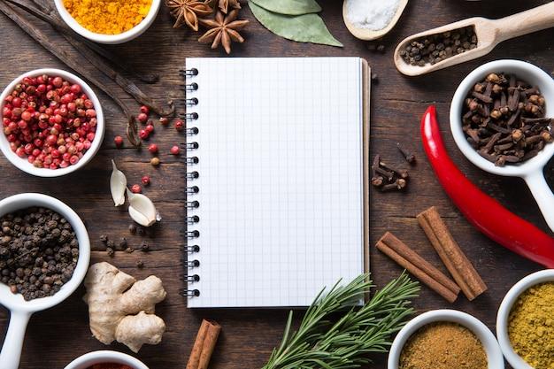 Rezeptbuch mit kräutern und gewürzen öffnen