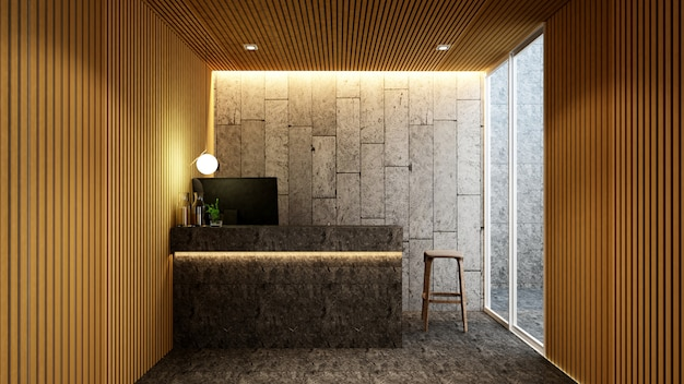 Rezeption in der lobby für kunstwerke des hotels oder des büros