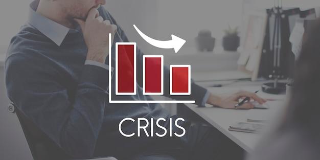 Rezession rückgang business barchart-konzept