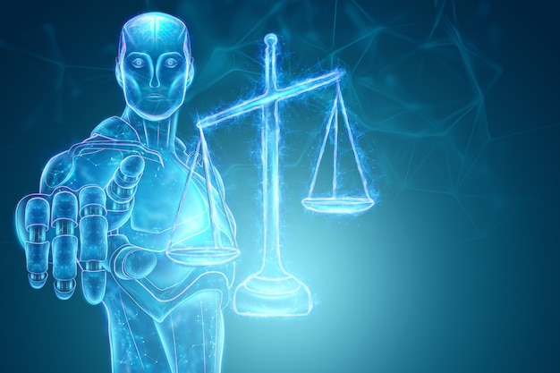 Richter der künstlichen intelligenz und hologramm der gerechtigkeitsskala. konzept des internetrechts, urteil, modernes gericht, justiz im internet. 3d-rendering, 3d-darstellung.