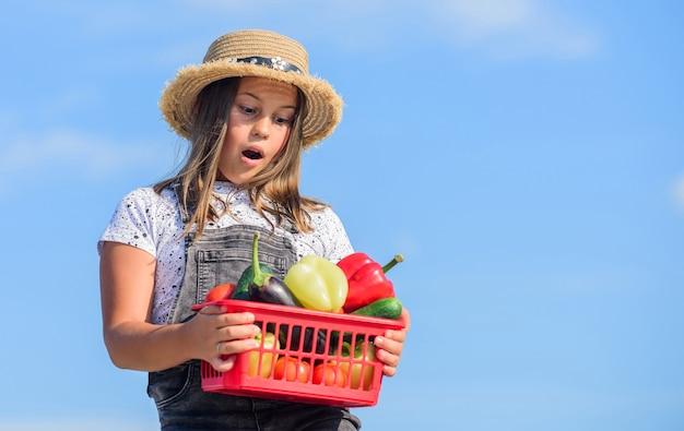 Richtige ernährung. kind auf sommerfarm. bio-lebensmittel. vitamin ernten. frühlingsgärtnerei. glücklicher kleiner bauer. herbsternte. gesundes essen für kinder. gemüse des kleinen mädchens im korb. nur natürlich.