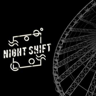 Riesenrad nacht vergnügungspark attraktion
