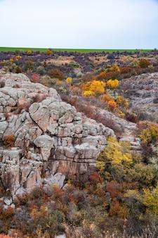 Riesige ablagerungen alter steinmineralien, die mit vegetation bedeckt sind, auf einer wiese, die mit warmer sonne gefüllt ist