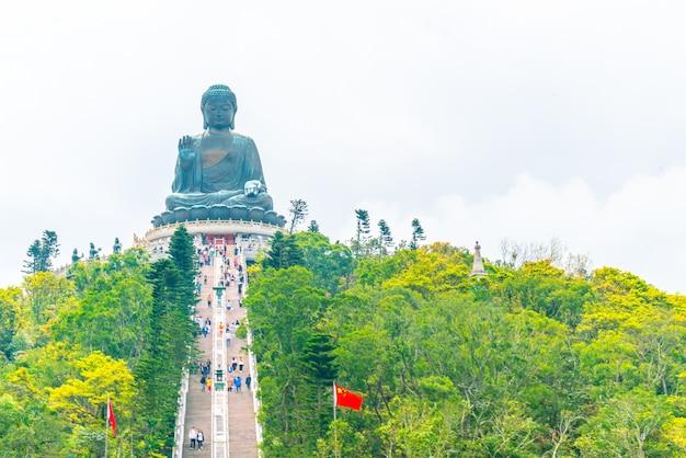 Riesige buddha-statue bei ngong ping, hong kong