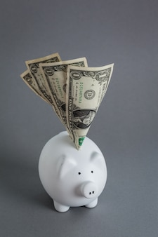 Riesige ersparnisse im sparschwein, überfüllt mit bargeld