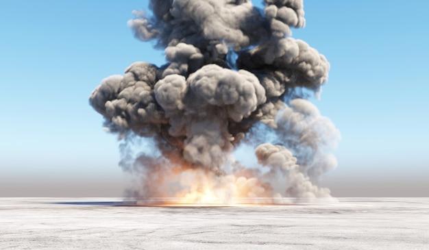 Riesige explosion in einem leeren bereich