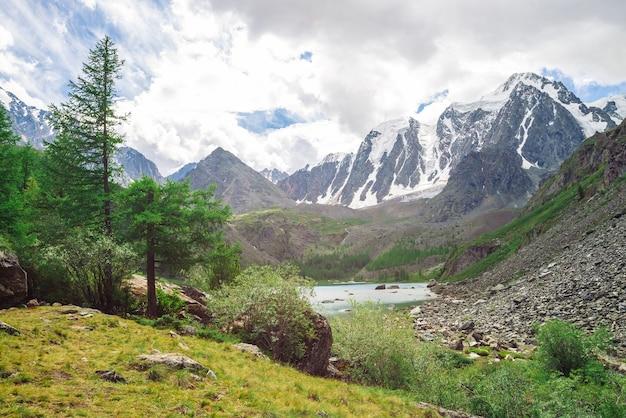 Riesige schneebedeckte bergkette. nadelbäume im tal nahe bergsee. gletscher mit schnee im sonnenlicht.