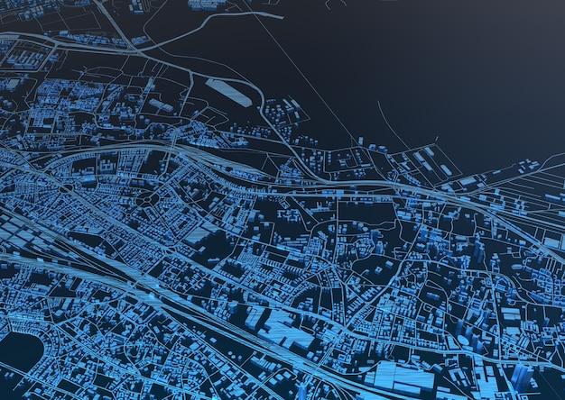 Riesige stadt draufsicht. illustration in lässigem grafikdesign. fragmente von singapur