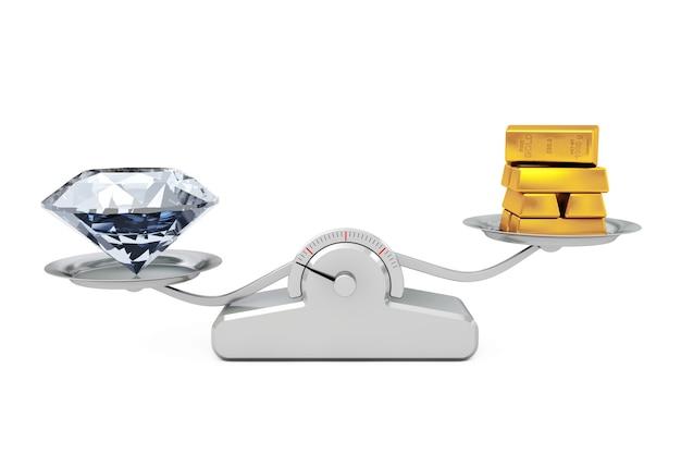 Riesiger diamant mit goldenen balken, die auf einer einfachen gewichtungsskala auf einem weißen hintergrund balancieren. 3d-rendering.