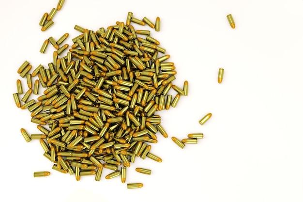 Riesiger haufen realistischer kugeln auf weißem, isoliertem hintergrund. die goldenen kugeln liegen in einem riesigen haufen. 3d-darstellung von waffenpatronen für eine pistole