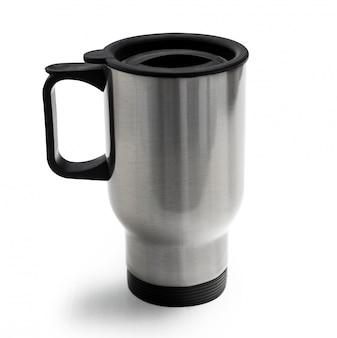 Riesiger thermocup mit schwarzem, bequemem griff