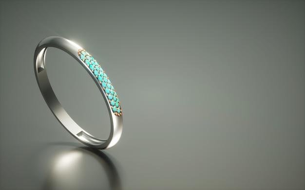 Ring des diamanten 3d auf dunklem reflektierendem hintergrund mit kopienraum