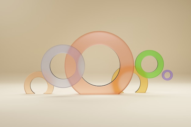 Ringe mehrfarbig aus glas, für ein banner oder ein poster. minimalismus, abstrakte geometrische formen und formhintergrund 3d übertragen.
