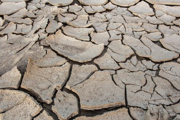 Risse im boden, tiefe risse, rissige wüstenlandschaft, hitzeeinwirkung und trockenheit