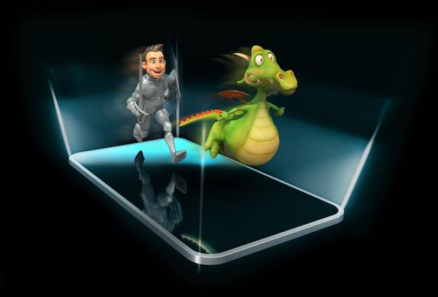 Ritter und drache - 3d-illustration