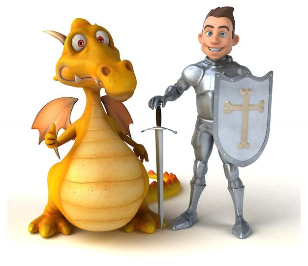Ritter- und drachenanimation