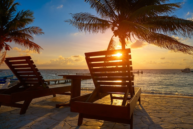 Riviera maya sonnenaufgang strand hängematten