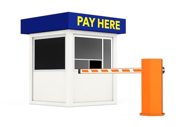 Road car barrier und parking zone stand mit pay here sign auf weißem hintergrund. 3d-rendering.