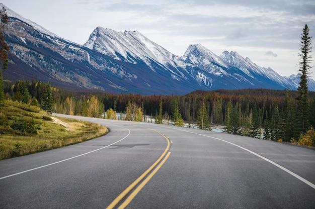 Roadtrip auf der autobahn mit felsigen bergen im herbstwald im banff-nationalpark, kanada