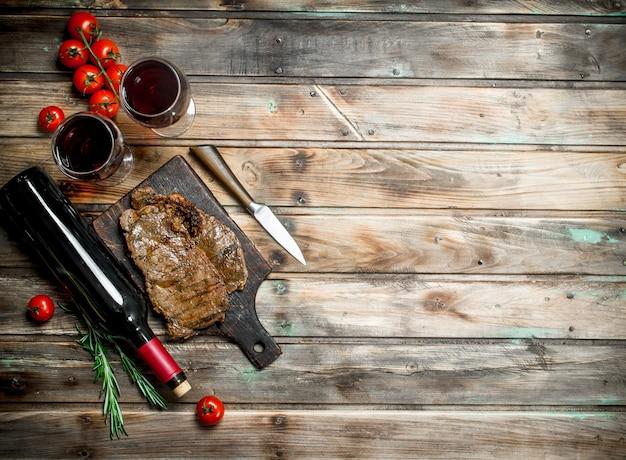 Roastbeefsteak mit rotwein.