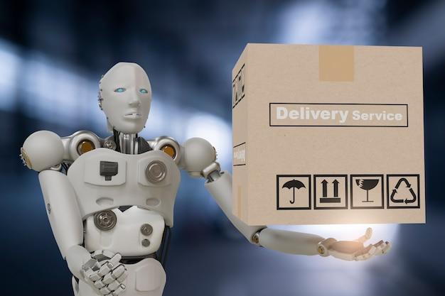 Robot cyber future futuristische humanoide hold box produkttechnologie engineering geräteprüfung, für industrie inspektion inspektor transport wartung roboter service technologie 3d-rendering