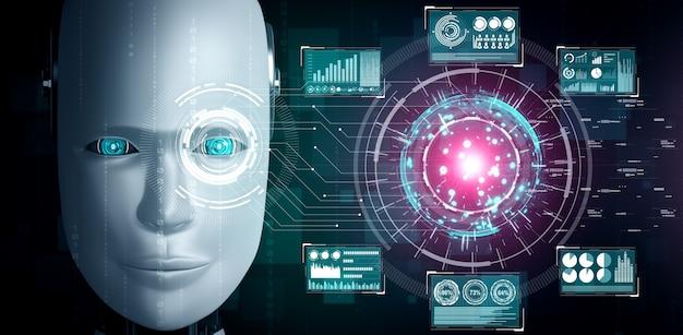 Robot humanoid gesicht schließen mit grafischem konzept der big-data-analyse