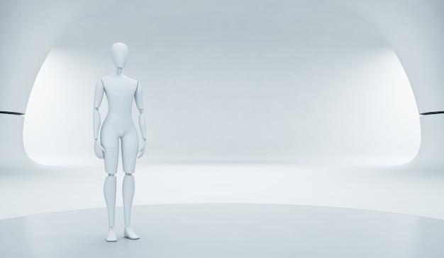 Roboter auf stadium im zukünftigen technologiekonzept