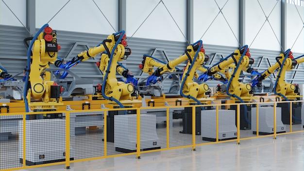 Roboter-automobilmontage in der fabrik.