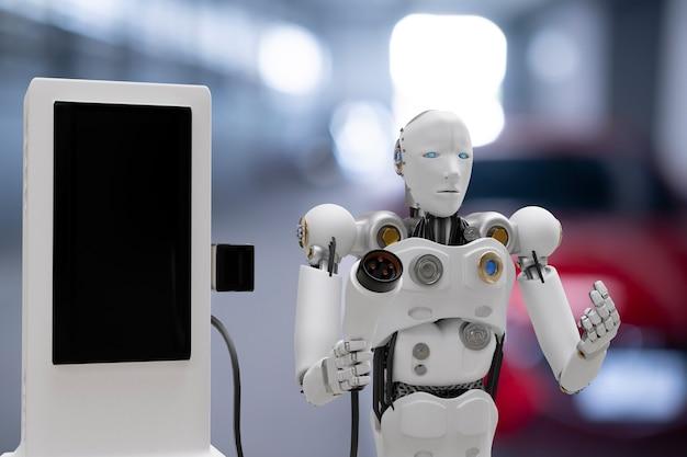 Roboter cyber zukunft futuristisch humanoid hi-tech-industrie garage ev-auto-ladegerät aufladen elektrostation aufladen fahrzeug transport transport zukunft autokunden für den transport automobil automobil