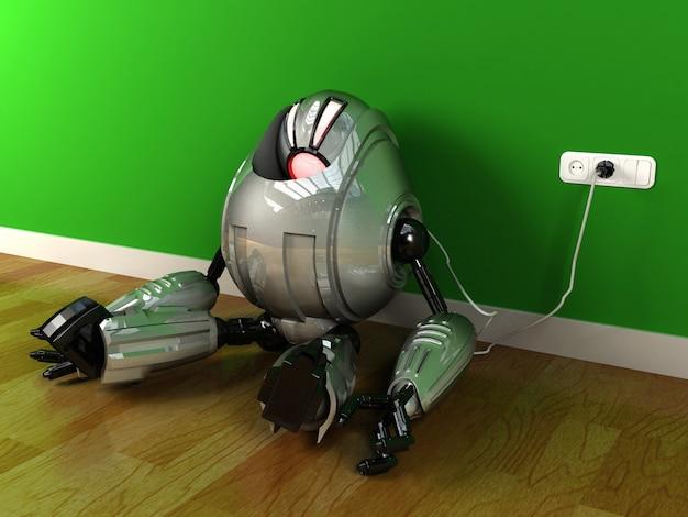 Roboter, dem die energie ausgeht und der sich wieder auflädt, wiedergabe 3d