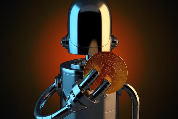 Roboter, der bitcoin mit den fingern hält.