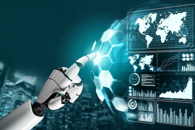 Roboter, der geschäftsdaten analysiert