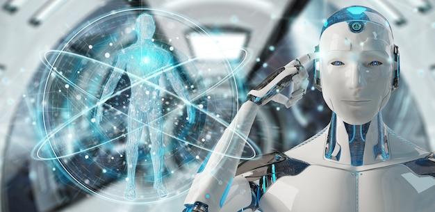 Roboter des weißen mannes, der menschlichen körper scannt