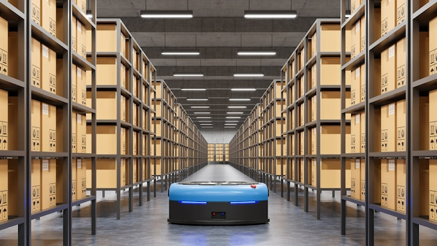 Roboter, die effizient hunderte von paketen pro stunde sortieren (automated guided vehicle) agv.3d-rendering