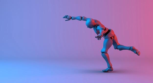 Roboter-drahtmodell-wurfaktion auf rotem violettem hintergrund der steigung