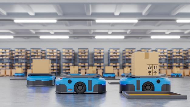 Roboter-ftf nutzen die automatisierung, um produkte pünktlich zu liefern