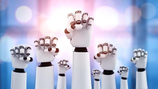 Roboter hände hoch, um erfolg zu feiern