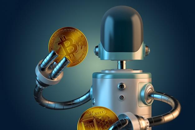 Roboter halten bitcoin-münzen. abbildung 3d. isoliert. beschneidungspfad enthält