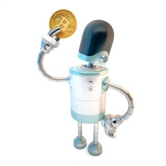 Roboter halten bitcoin.
